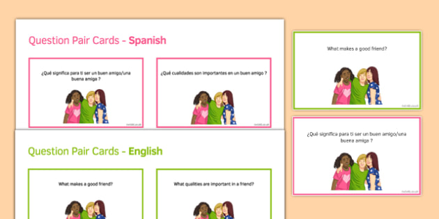 General Conversation Me, my Family & Friends Question Pair Cards Spanish