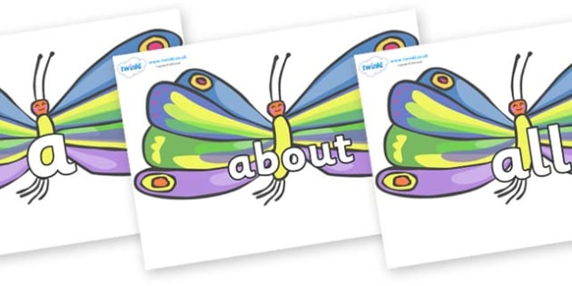 100 High Frequency Words on Butterflies to Support Teaching on The Very Hungry Caterpillar - High frequency words, hfw, DfES Letters and Sounds, Letters and Sounds, display words