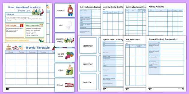 Elderly Care Planning Activity Pack - Elderly care, adult education, care home, planning, resources, records, templates, logs, activities,