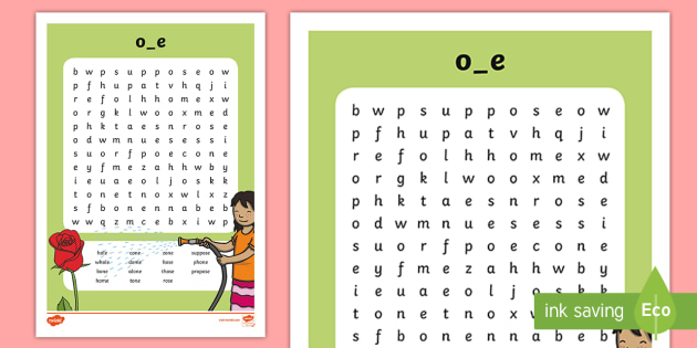 Split \'o_e\' Digraph Differentiated Word Search - vowel diagraph