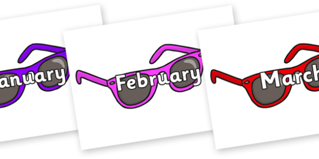 Months of the Year on Sunglasses - Months of the Year, Months poster, Months display, display, poster, frieze, Months, month, January, February, March, April, May, June, July, August, September