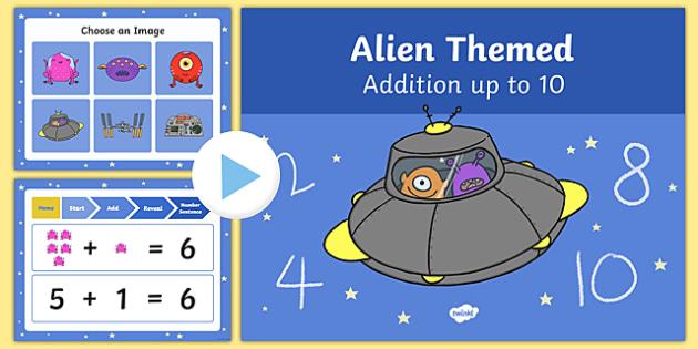 Alien Themed Addition to 10 PowerPoint - alien, addition, powerpoint, 10