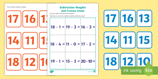 Subtraction Noughts and Crosses Activity (to 20) - Subtraction, math, maths activity, subtract, minus, less, Numeracy, Foundation numeracy, Maths activities