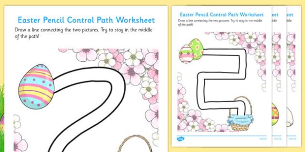 Easter Hunt Pencil Control Path Worksheets - pencil control