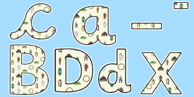 The Celts Iron Age Themed Display Lettering - the celts, iron age, display lettering, display letters, lettering, display alphabet, lettering for display