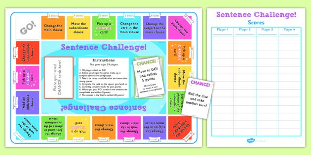 Complex Sentences Challenge Game - game, challenge, complex sentences, sentences, sentence game, complex sentence game, games, challenge game, activity, fun