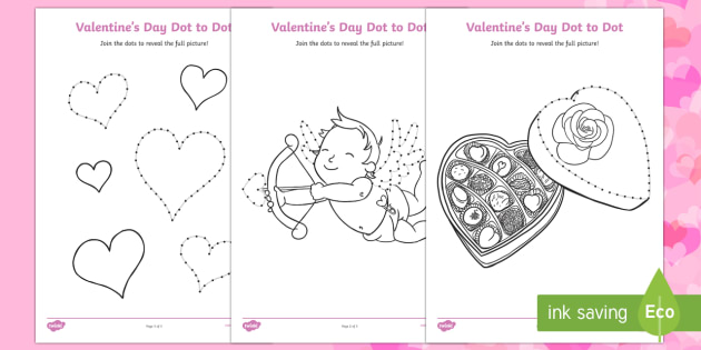Valentine's Day Dot to Dot Activity Sheets - Valentine's Day,  Feb 14th, love, cupid, hearts, valentine, Worksheets