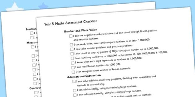 Year 5 Maths Assessment Checklist - maths, assessment, checklist