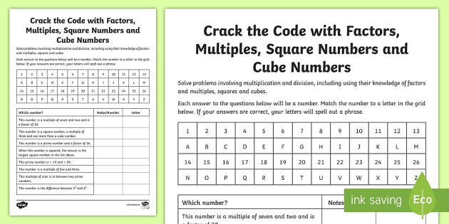 crack the code with factors multiples squares and cube numbers  crack the code with factors multiples squares and cube numbers worksheet   worksheet