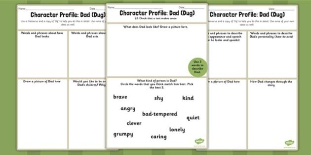Character Profile Dad Dug Worksheet to Support Teaching on Ug – Dad Worksheet