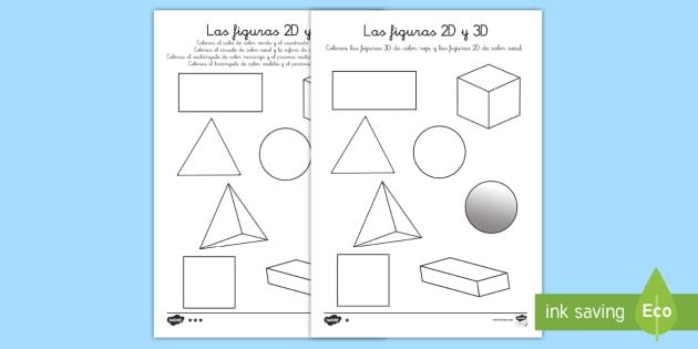 Hojas De Colorear: Las Figuras 2D Y 3D