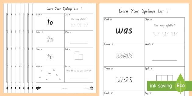 learn your new zealand essential spelling list 1 words worksheet worksheets. Black Bedroom Furniture Sets. Home Design Ideas