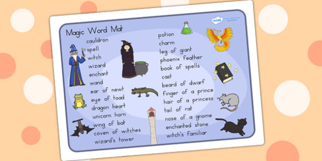 Magic Word Mat - magic, word mat, words, key words, visual aid
