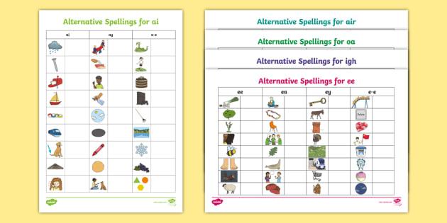 alternative spellings table worksheets resource pack igh ie i e y sound. Black Bedroom Furniture Sets. Home Design Ideas