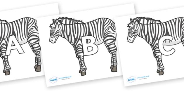 A-Z Alphabet on Zebras - A-Z, A4, display, Alphabet frieze, Display letters, Letter posters, A-Z letters, Alphabet flashcards