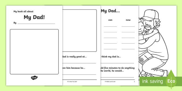 a book about my dad template fathers day gift idea father dad
