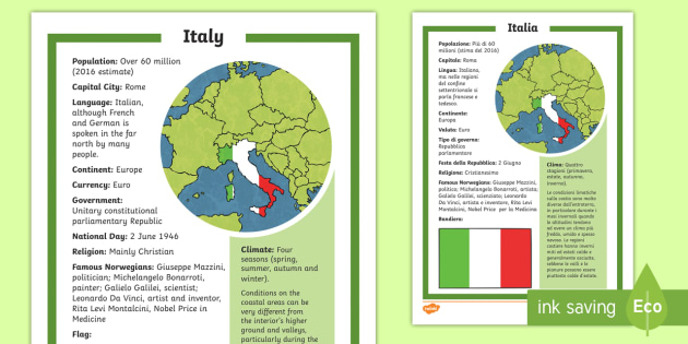 City Map Of Italy In English.Italy Fact File English Italian Italia Europe World Map Culture