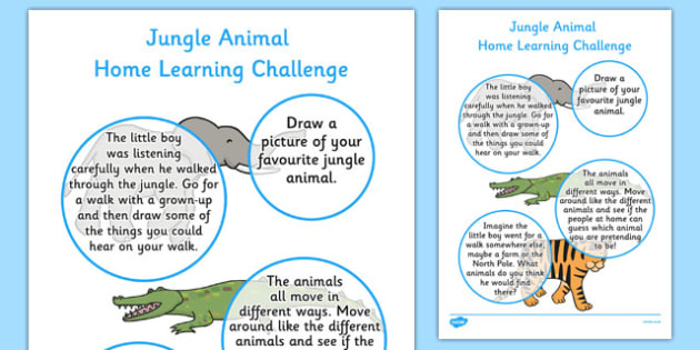 Home Learning Challenge Sheet Jungle Animals Themed Nursery FS1 - walking through the jungle