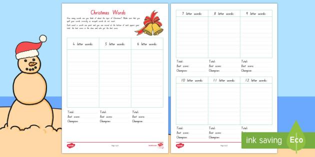Writing Christmas Words Activity Sheet