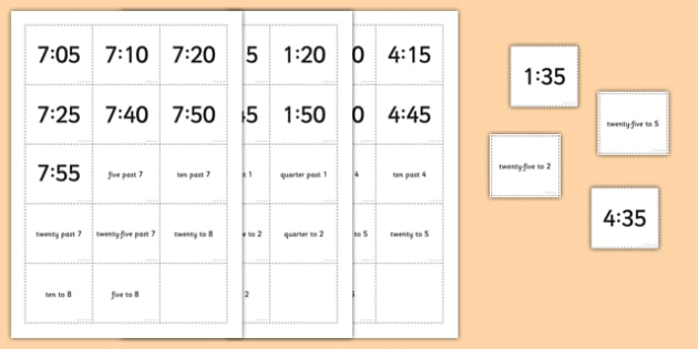 Telling the Time Words Digital Pelmanism Game With 5 Minute Intervals - telling the time, game