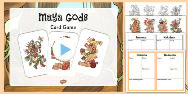 Maya Gods Card Game Teaching Pack - maya, mayan civilisation