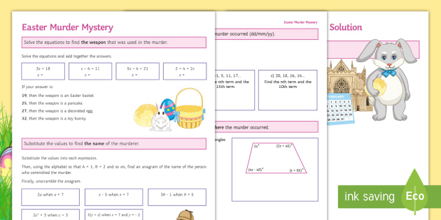 Easter Murder Mystery Algebra Worksheet Activity Sheet