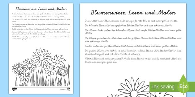 Blumenwiesen Logical Arbeitsblatt: Lesen und Malen - Frühling