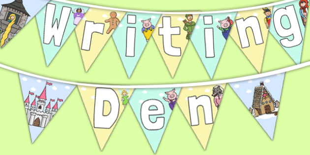 Writing Den Display Bunting - writing den, display bunting, display, bunting