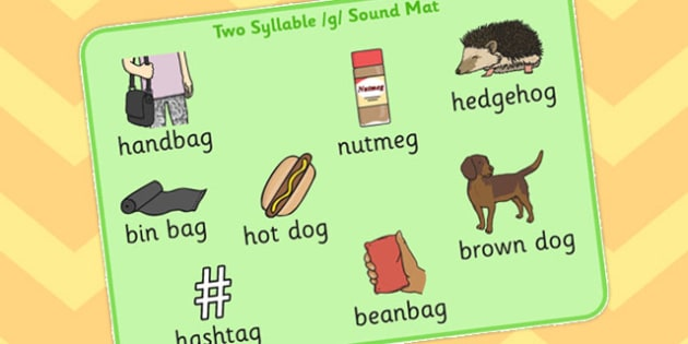 Two Syllable Final G Sound Word Mat - syllable, final, g, sound