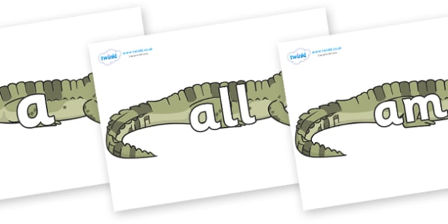Foundation Stage 2 Keywords on Crocodiles - FS2, CLL, keywords, Communication language and literacy,  Display, Key words, high frequency words, foundation stage literacy, DfES Letters and Sounds, Letters and Sounds, spelling