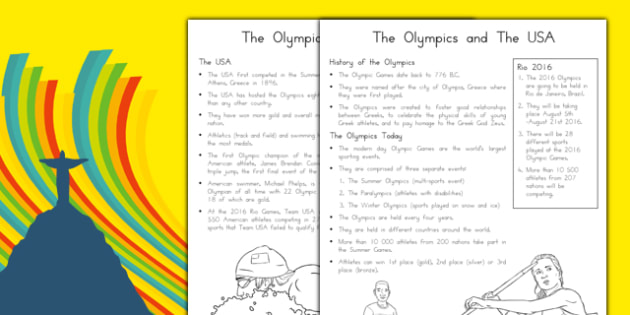A History of the USA at the Olympics Fact File Fact File