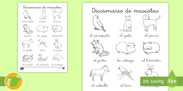 NEW * Hoja de colorear: Diccionario de mascotas - animales