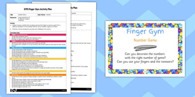 EYFS Number Gems Finger Gym Activity Plan and Prompt Card Pack