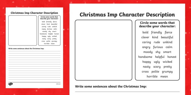 The Christmas Imp Character Profile Writing Template - The