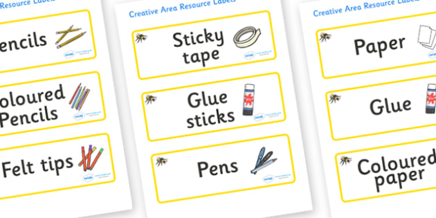Bumble Bee Themed Editable Creative Area Resource Labels - Themed creative resource labels, Label template, Resource Label, Name Labels, Editable Labels, Drawer Labels, KS1 Labels, Foundation Labels, Foundation Stage Labels