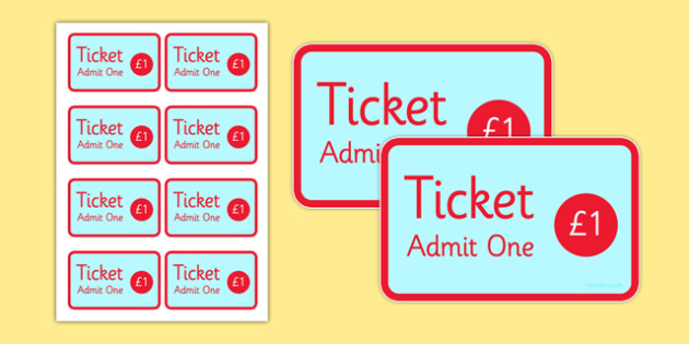 The Fairground Role Play Tickets - fairground, fairground role play tickets, fairground tickets, fairground entry tickets, fairground role play, admission