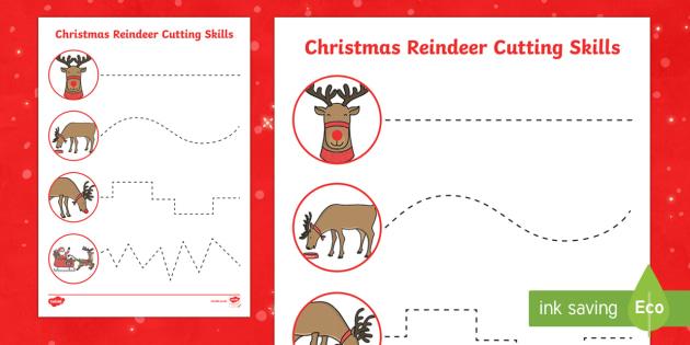 Christmas Reindeer Cutting Skills Activity Sheets