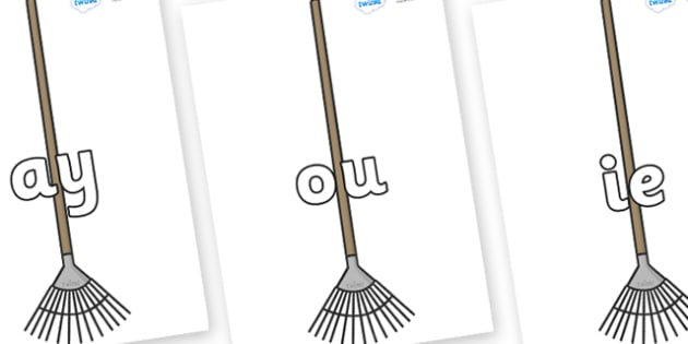 Phase 5 Phonemes on Garden Rakes - Phonemes, phoneme, Phase 5, Phase five, Foundation, Literacy, Letters and Sounds, DfES, display
