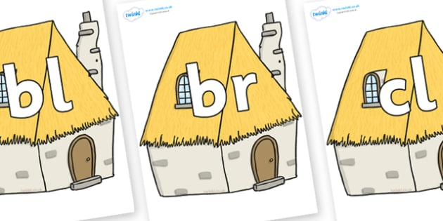 Initial Letter Blends on Cottage - Initial Letters, initial letter, letter blend, letter blends, consonant, consonants, digraph, trigraph, literacy, alphabet, letters, foundation stage literacy