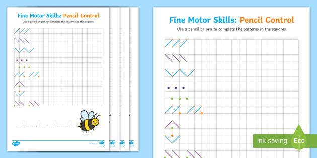 new fine motor skills pencil control on squared paper worksheets. Black Bedroom Furniture Sets. Home Design Ideas