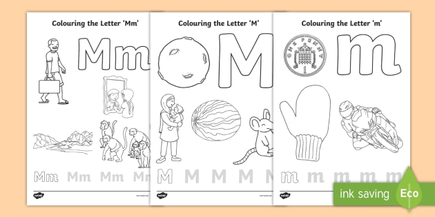 Letter M Coloring Pages Teacher Made