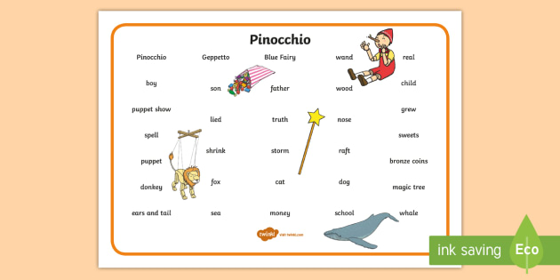 Pinocchio word mat text pinocchio geppetto blue fairy pinocchio word mat text pinocchio geppetto blue fairy wand spiritdancerdesigns Image collections