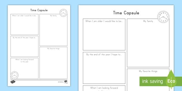 photograph regarding Time Capsule Printable Worksheets referred to as Year Capsule Crafting Worksheet / Worksheet, worksheet