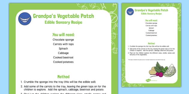 Grandpa's Vegetable Patch Edible Sensory Recipe