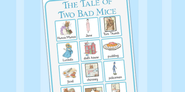 The Tale of Two Bad Mice Vocabulary Poster - two bad mice, vocabulary