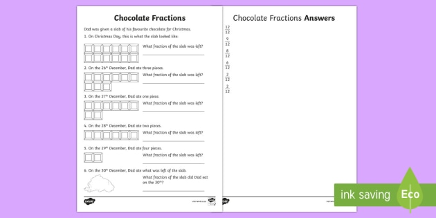 chocolate fractions worksheet activity sheet farctions. Black Bedroom Furniture Sets. Home Design Ideas