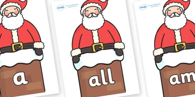 Foundation Stage 2 Keywords on Santa in Chimney - FS2, CLL, keywords, Communication language and literacy,  Display, Key words, high frequency words, foundation stage literacy, DfES Letters and Sounds, Letters and Sounds, spelling