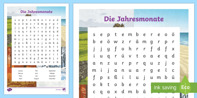 months of the year word search german months of the year