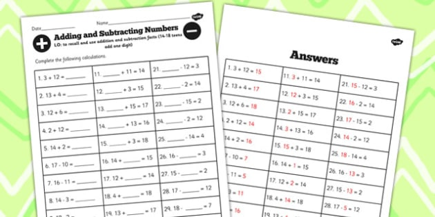 Number Facts Worksheet 14-18 Teens Add One Digit - number, facts