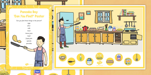 Pancake Day Can You Find...? Poster and Prompt Card Pack - Shrove Tuesday, pancake day